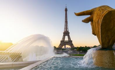 Eiffel Tower and fountain at Jardins du Trocadero at sunrise in Paris, France- Stock Photo or Stock Video of rcfotostock | RC-Photo-Stock