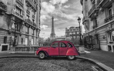 Eiffel Tower in Paris and red retro car in black and white color-key- Stock Photo or Stock Video of rcfotostock | RC-Photo-Stock
