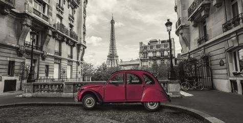 Eiffel Tower in Paris and retro red car at the  Avenue de Camoens : Stock Photo or Stock Video Download rcfotostock photos, images and assets rcfotostock | RC-Photo-Stock.: