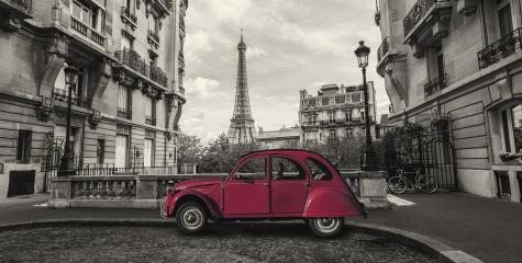 Eiffel Tower in Paris and retro red car at the Avenue de Camoens- Stock Photo or Stock Video of rcfotostock | RC-Photo-Stock