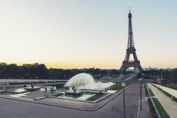 Eiffel tower in paris seen from Trocadero fountain square at sunrise- Stock Photo or Stock Video of rcfotostock | RC-Photo-Stock