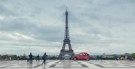 Eiffel Tower in Paris. View over the Tour Eiffel from Trocadero square with red retro car. Paris, France : Stock Photo or Stock Video Download rcfotostock photos, images and assets rcfotostock | RC-Photo-Stock.: