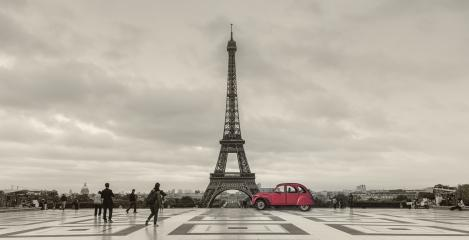 Eiffel Tower, Paris, France and retro red car at the Tour Eiffel on Trocadero square. : Stock Photo or Stock Video Download rcfotostock photos, images and assets rcfotostock | RC-Photo-Stock.: