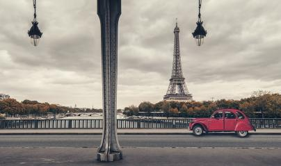 Eiffel Tower, Paris, France and retro red car under the Pont de Bir-Hakeim Bridge- Stock Photo or Stock Video of rcfotostock | RC-Photo-Stock