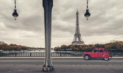 Eiffel Tower, Paris, France and retro red car under the Pont de Bir-Hakeim Bridge : Stock Photo or Stock Video Download rcfotostock photos, images and assets rcfotostock | RC-Photo-Stock.: