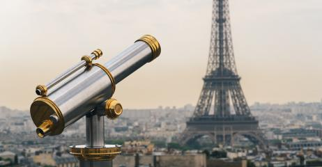 Eiffel tower view at sunset with Telescope, Paris. France- Stock Photo or Stock Video of rcfotostock | RC-Photo-Stock