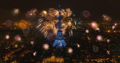 Eiffel tower with fireworks, celebration of the New Year in Paris, France- Stock Photo or Stock Video of rcfotostock | RC-Photo-Stock