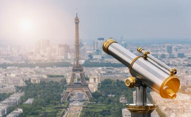 Eiffel tower with Telescope, Paris. France- Stock Photo or Stock Video of rcfotostock | RC-Photo-Stock