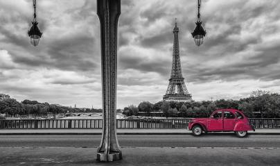 Eiffel Tower with vintage Car in Paris, seen from under the Bir Hakeim Bridge : Stock Photo or Stock Video Download rcfotostock photos, images and assets rcfotostock | RC-Photo-Stock.:
