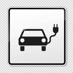 Electric Charging station sign. German traffic sign Electric vehicle recharging point Ecology friendly electric car charging on checked transparent background. Vector illustration. Eps 10 vector file. : Stock Photo or Stock Video Download rcfotostock photos, images and assets rcfotostock | RC-Photo-Stock.: