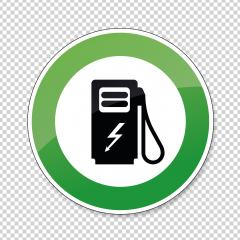 Electric Charging station traffic sign. German sign Electric vehicle recharging point Ecology friendly electric car charging on checked transparent background. Vector illustration. Eps 10 vector file. : Stock Photo or Stock Video Download rcfotostock photos, images and assets rcfotostock | RC-Photo-Stock.: