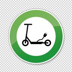 Electric Scooter traffic sign. German sign electro Scooter E Scooter EScooter electric eco friendly on checked transparent background. Vector Eps 10. : Stock Photo or Stock Video Download rcfotostock photos, images and assets rcfotostock | RC-Photo-Stock.: