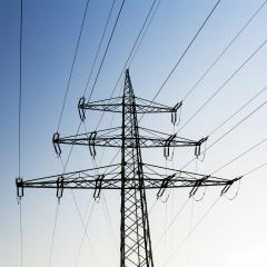Electricity pylon against blue sky and dusk sunset- Stock Photo or Stock Video of rcfotostock | RC-Photo-Stock