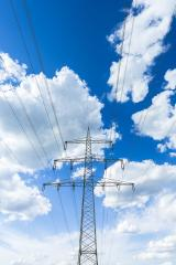 electricity pylon on blue cloudy sky industry high voltage- Stock Photo or Stock Video of rcfotostock   RC-Photo-Stock