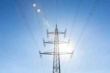 electricity pylon on blue cloudy sky industry high voltage- Stock Photo or Stock Video of rcfotostock | RC-Photo-Stock