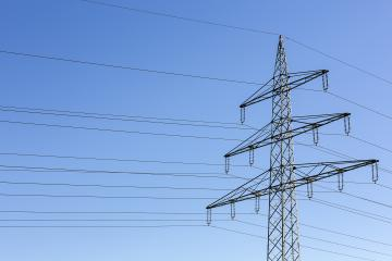 Electricity pylon power pole high voltage against blue sky- Stock Photo or Stock Video of rcfotostock   RC-Photo-Stock