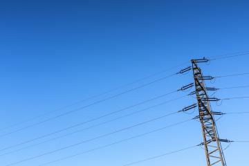 Electricity pylon power pole high voltage against blue sky- Stock Photo or Stock Video of rcfotostock | RC-Photo-Stock