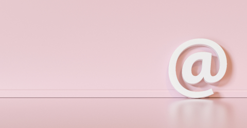 Email Icon or at sign leaning against a pink wall as a communica- Stock Photo or Stock Video of rcfotostock | RC-Photo-Stock