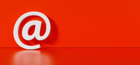 Email Icon or at sign leaning against a red wall as a communication concept, copyspace for your individual text. - Stock Photo or Stock Video of rcfotostock | RC-Photo-Stock
