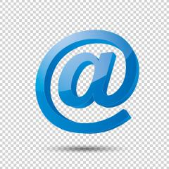 Email sign or at mail icon in 3D design and blue Color on the checked transparent background. Vector illustration. Eps 10 vector file.- Stock Photo or Stock Video of rcfotostock | RC-Photo-Stock