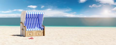 Empty beach chair on the beach of the Baltic Sea or North Sea in Germany as a summer vacation concept image, copy space for individual text- Stock Photo or Stock Video of rcfotostock | RC-Photo-Stock
