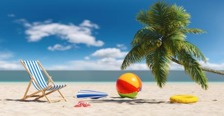 Empty beach chair with beach ball flip-flop sandals, beach umbrella under a palm tree at the beach during a summer vacation in the Caribbean- Stock Photo or Stock Video of rcfotostock | RC-Photo-Stock