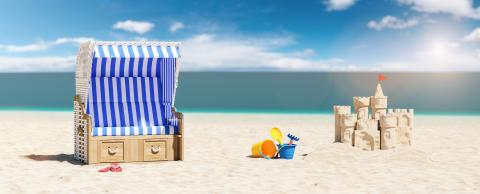 Empty beach chair with Sand castle and sand toys on the beach of the Baltic Sea or North Sea in Germany as a summer vacation concept image, copy space for individual text : Stock Photo or Stock Video Download rcfotostock photos, images and assets rcfotostock | RC-Photo-Stock.: