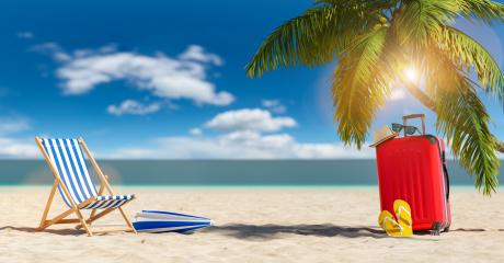 Empty beach chairs with suitcase flip-flop sandals, sunglasses under a palm tree at the beach during a summer vacation in the Caribbean- Stock Photo or Stock Video of rcfotostock | RC-Photo-Stock