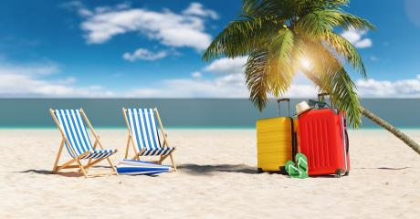 Empty beach chairs with suitcases flip-flop sandals, sunglasses under a palm tree at the beach during a summer vacation in the Caribbean- Stock Photo or Stock Video of rcfotostock | RC-Photo-Stock