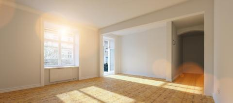 Empty bright white room in old building with balcony in berlin- Stock Photo or Stock Video of rcfotostock | RC-Photo-Stock