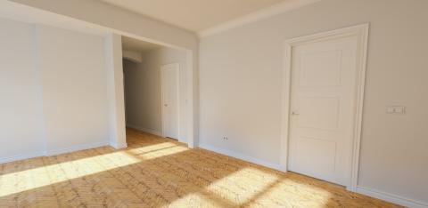 Empty bright white room in old building with stucco - Stock Photo or Stock Video of rcfotostock | RC-Photo-Stock