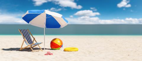 Empty deckchair with beach ball flip-flop sandals, beach umbrella and beach ball at the beach during a summer vacation in the Caribbean : Stock Photo or Stock Video Download rcfotostock photos, images and assets rcfotostock | RC-Photo-Stock.: