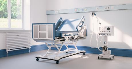 Empty intensive care bed with ventilator in the intensive care unit of a clinic during Covid-19 or coronavirus : Stock Photo or Stock Video Download rcfotostock photos, images and assets rcfotostock | RC-Photo-Stock.: