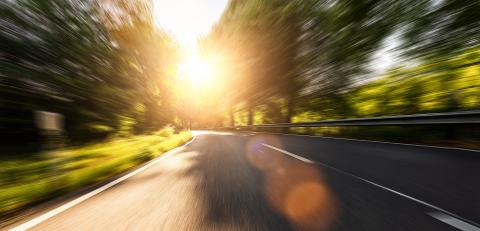 Empty long mountain road to the horizon on a sunny summer day at bright sunset with motion blur, Backplate or Backdrop background.- Stock Photo or Stock Video of rcfotostock | RC-Photo-Stock
