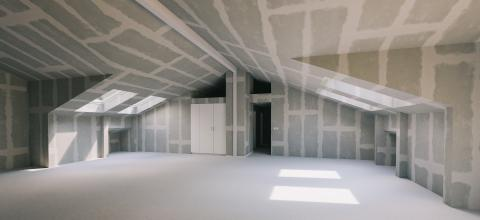 Empty room in attic with pitched roof and Flattened drywall walls, new construction and house building concept image- Stock Photo or Stock Video of rcfotostock | RC-Photo-Stock