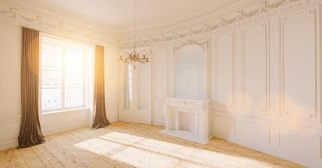 Empty white bright room with stucco in an old villa with fireplace- Stock Photo or Stock Video of rcfotostock | RC-Photo-Stock