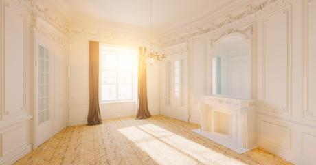 Empty white bright room with stucco in an old villa with fireplace and sunlight- Stock Photo or Stock Video of rcfotostock | RC-Photo-Stock