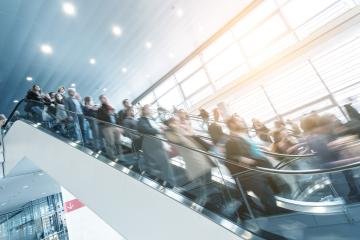escalator crowd at a Exhibition- Stock Photo or Stock Video of rcfotostock | RC-Photo-Stock