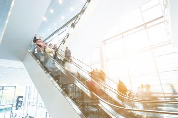 escalator crowd in motion at a Exhibition- Stock Photo or Stock Video of rcfotostock | RC-Photo-Stock