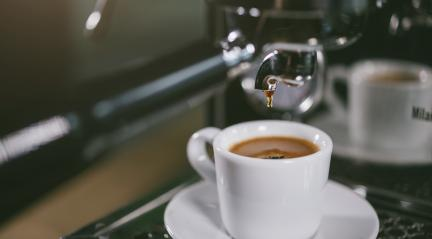 Espresso out of classic coffee machine into coffee cup : Stock Photo or Stock Video Download rcfotostock photos, images and assets rcfotostock | RC-Photo-Stock.: