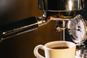 espresso pouring from coffee machine in to a cup. Professional coffee brewing concept image- Stock Photo or Stock Video of rcfotostock | RC-Photo-Stock