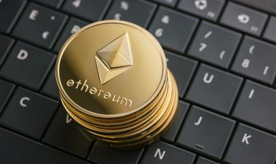 ethereum coins stack cryptocurrency, digital money on computer keyboard- Stock Photo or Stock Video of rcfotostock   RC-Photo-Stock