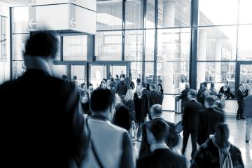 European Trade Fair visitors in a modern hall- Stock Photo or Stock Video of rcfotostock | RC-Photo-Stock