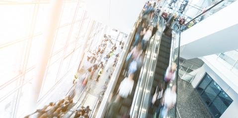 Exhibition crowd at a escalator- Stock Photo or Stock Video of rcfotostock   RC-Photo-Stock