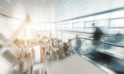 Exhibition entrance with people in rush at a escalator- Stock Photo or Stock Video of rcfotostock | RC-Photo-Stock