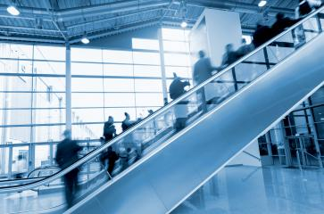 Exhibition escalator with blurred people- Stock Photo or Stock Video of rcfotostock   RC-Photo-Stock