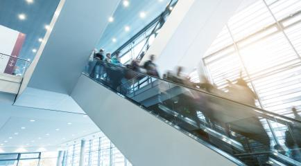 Exhibition staircase with blurred visitors- Stock Photo or Stock Video of rcfotostock | RC-Photo-Stock