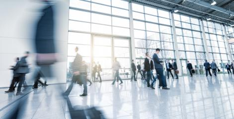 Exhibition visitors walking in a modern hall- Stock Photo or Stock Video of rcfotostock | RC-Photo-Stock