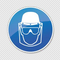Face Shield, head protection and eye protection glasses must be worn, mandatory sign or safety sign, on checked transparent background. Vector illustration. Eps 10 vector file. : Stock Photo or Stock Video Download rcfotostock photos, images and assets rcfotostock | RC-Photo-Stock.: