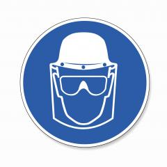 Face Shield, head protection and eye protection glasses must be worn, mandatory sign or safety sign, on white background. Vector illustration. Eps 10 vector file. : Stock Photo or Stock Video Download rcfotostock photos, images and assets rcfotostock | RC-Photo-Stock.: